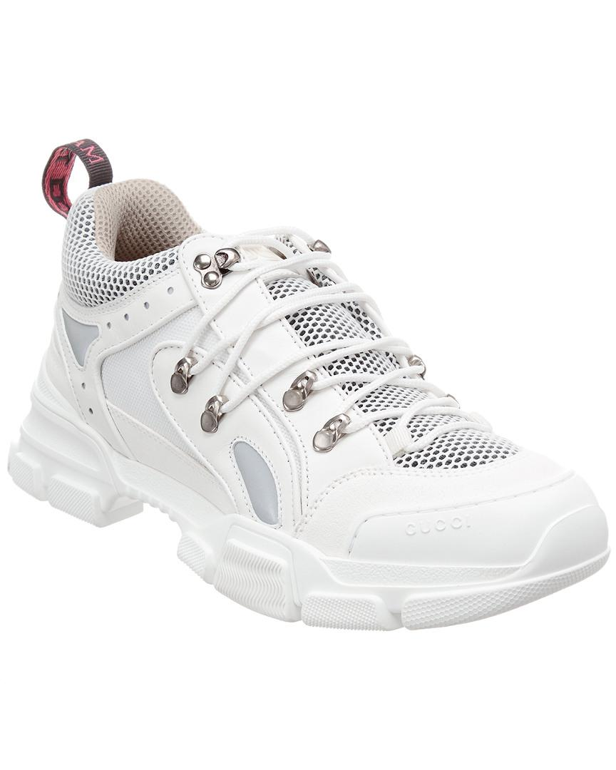 1c7a7131a2f Lyst - Gucci Flashtrek Leather   Mesh Sneaker in White for Men ...