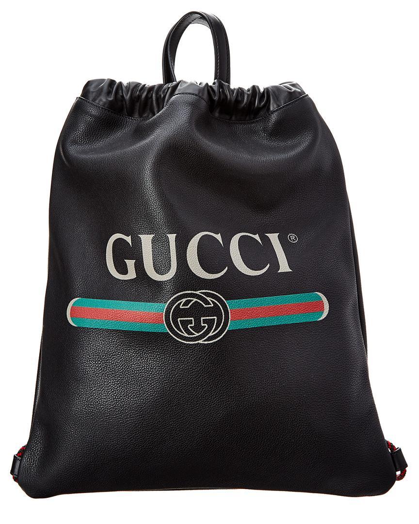 a13b3d5ce061 Gucci Vintage Logo Printed Drawstring Backpack in Black for Men ...