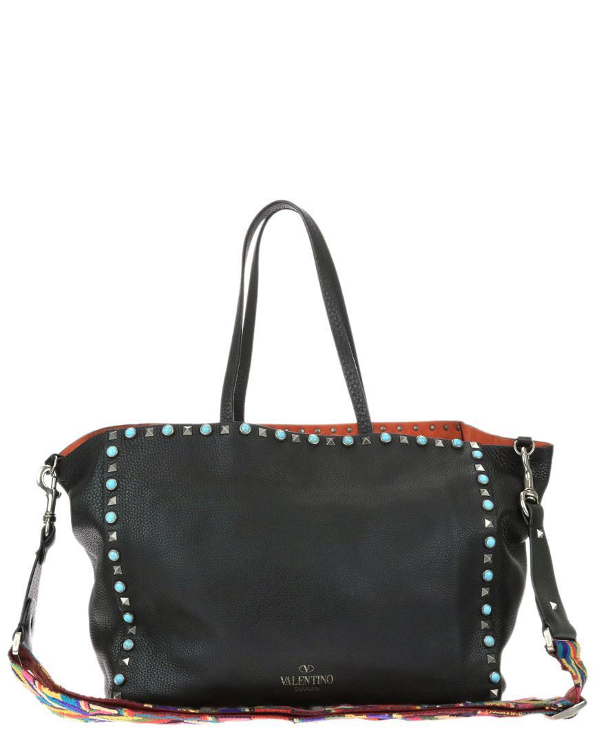 e0dd1c05a1 Valentino Limited Edition Black Calfskin Leather Rockstud Rolling ...