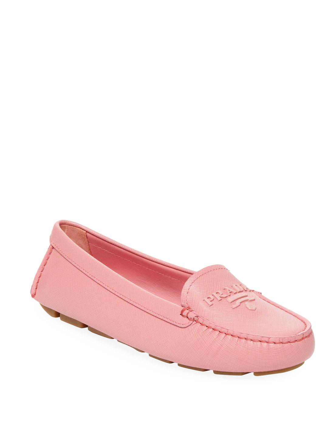 Loafers & Slippers - Drive Logo Loafers Leather Loto - rose - Loafers & Slippers for ladies Prada xOeGKSA