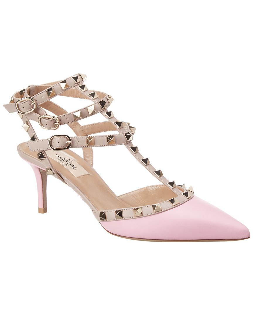 37b7162ce67c Valentino - Pink Cage Rockstud 65 Leather Ankle Strap Pump - Lyst. View  fullscreen