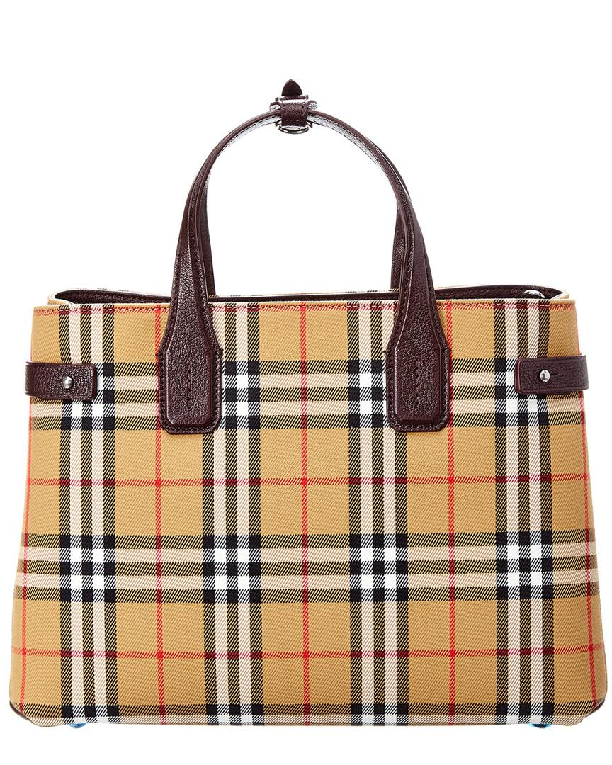 8526830fe22e Burberry Medium Banner Vintage Check Canvas   Leather Tote - Lyst