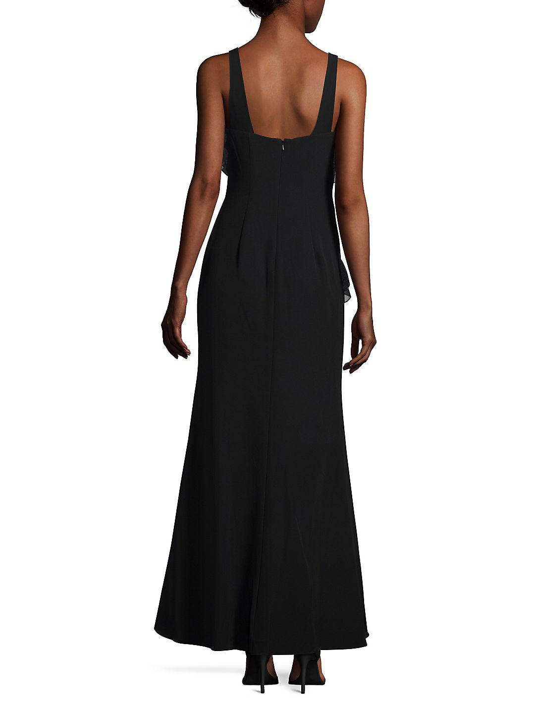 Js collections Sleeveless Flounce Evening Gown in Black | Lyst