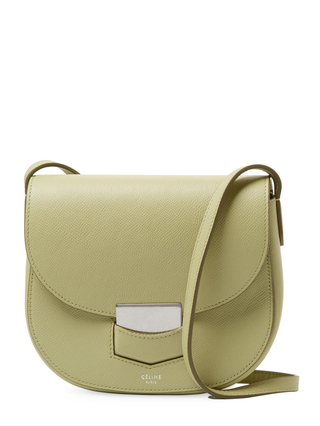 584057b28c Céline Trotteur Small Leather Shoulder Bag in Green - Lyst