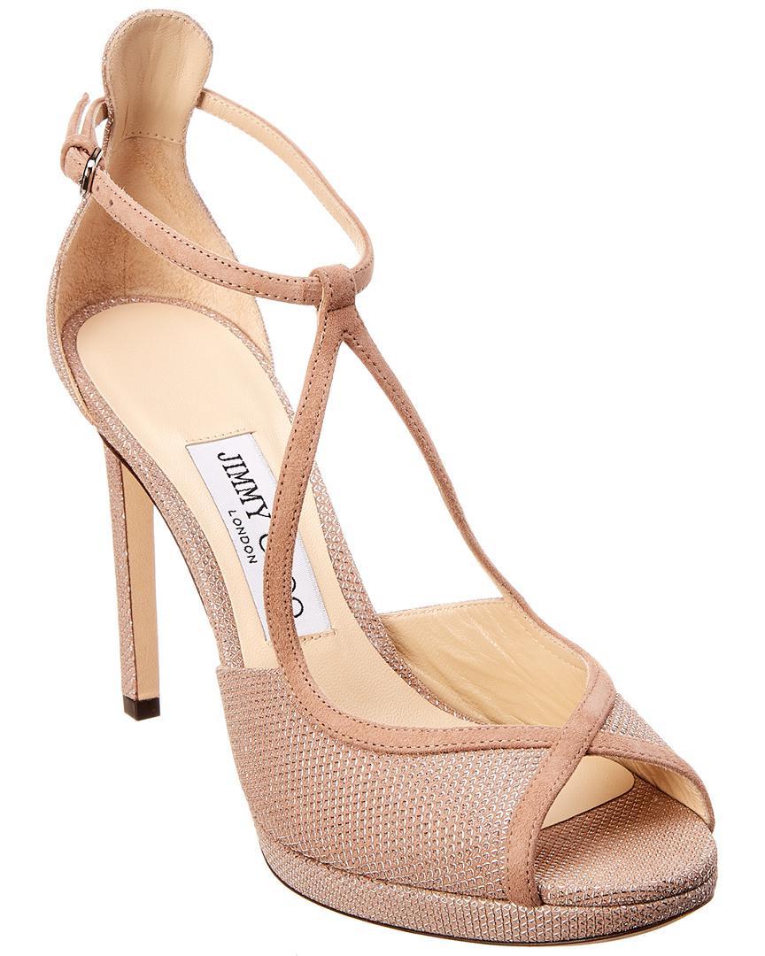 664f8106544e42 Lyst - Jimmy Choo Fawne 100 Suede Sandal in Pink