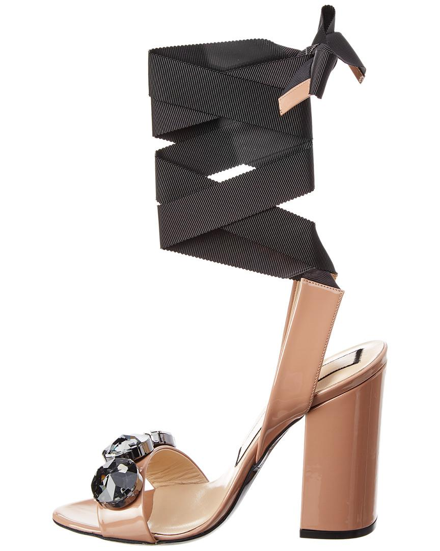 133be8a967eae4 Lyst - N°21 N 21 Embellished Patent Ankle Wrap Sandal in Natural - Save 54%