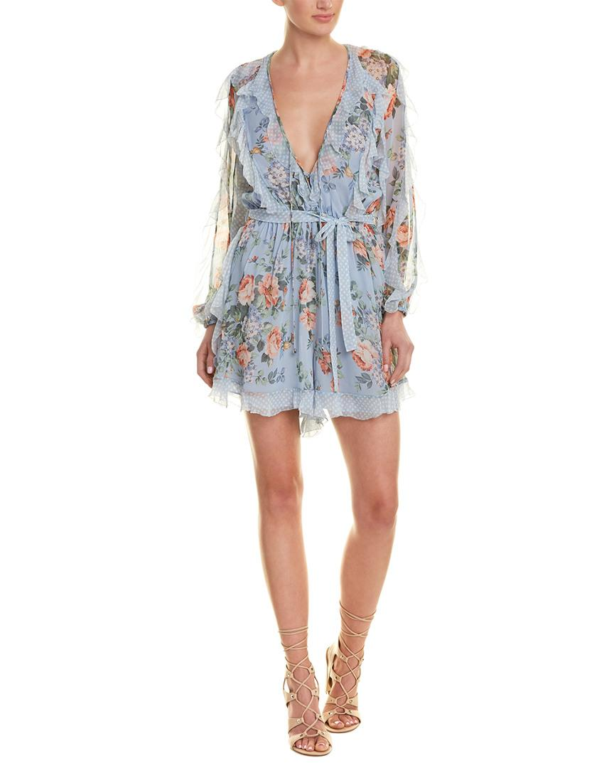 a9a8bc880d Zimmermann Abito Frill Playsuit in Blue - Lyst
