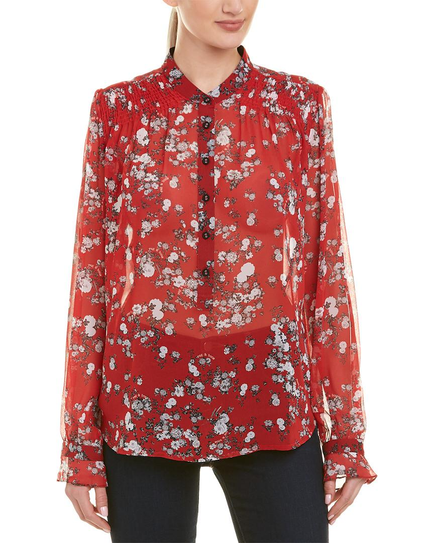 d9d8d2b1c2b9e Lyst - Rag   Bone Susan Silk Blouse in Red