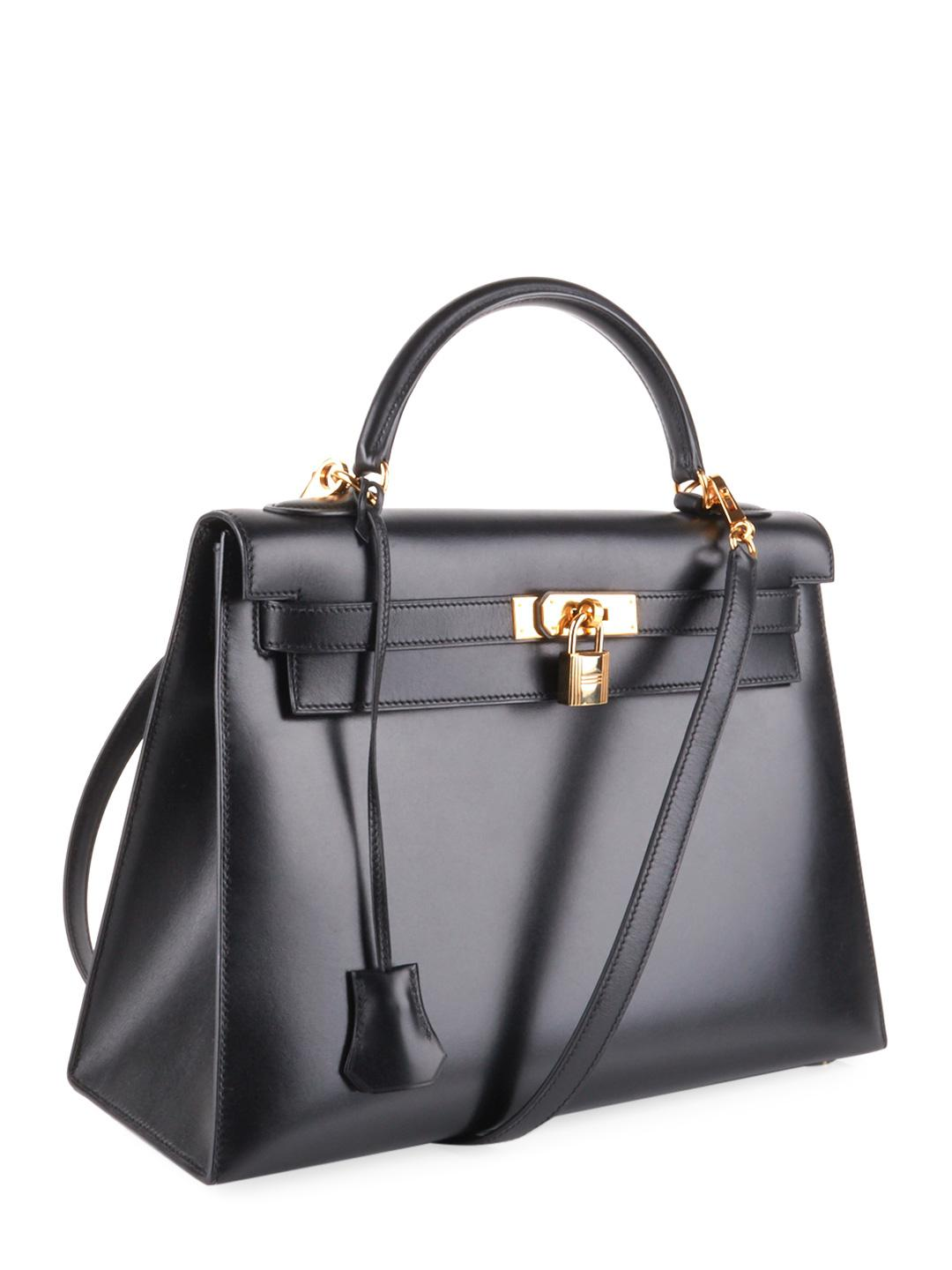 d9665dbc722d Hermès Vintage Black Box Kelly Sellier 32 in Black - Lyst