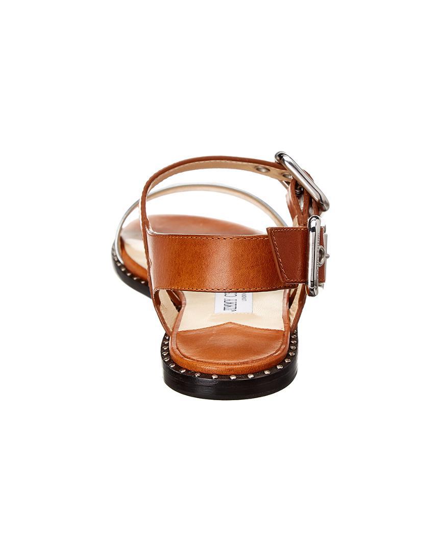 3e815202a4c Jimmy Choo - Astrid Metallic Leather Flat Sandal - Lyst. View fullscreen