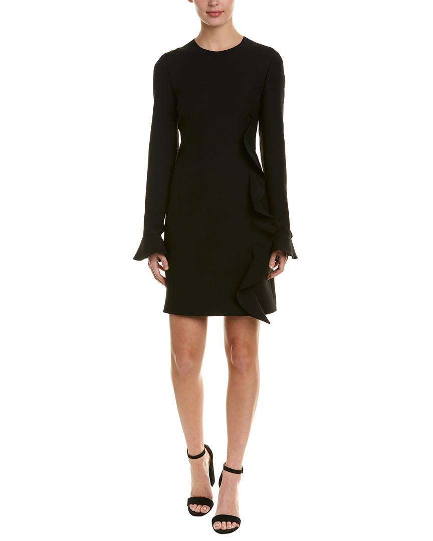 145ab385 Valentino Ruffle Wool & Silk-blend Shift Dress in Black - Lyst