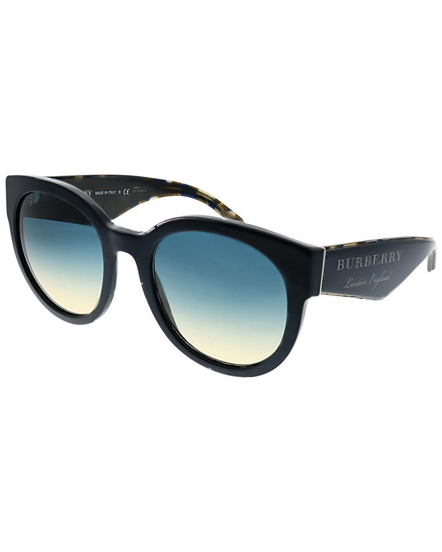 b7ae6f66b7b Lyst - Burberry Women s Round 54mm Sunglasses in Blue