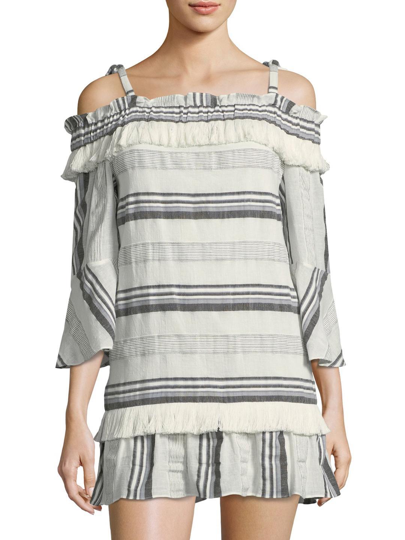 Rachel Zoe Woman Cold-shoulder Striped Cotton, Linen And Ramie-blend Mini Dress White Size L Rachel Zoe