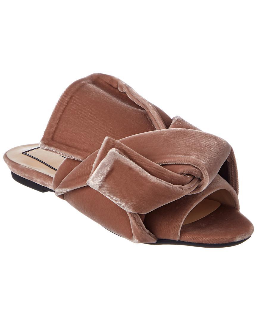 261e66598b35d0 N°21 N 21 Velvet Flat Bow Mule in Pink - Save 50% - Lyst