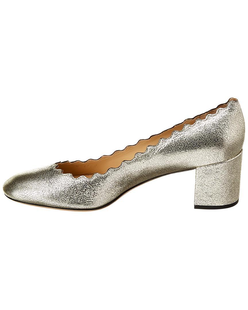 4480047df7be Lyst - Chloé Lauren Scalloped Metallic Leather Pump in Metallic