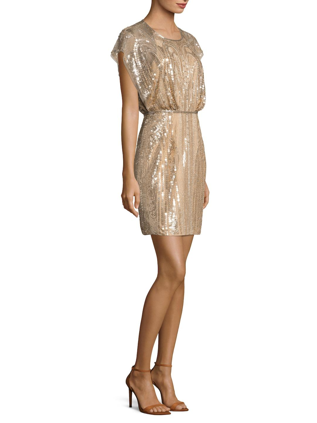 Lyst - Jenny Packham Sequin Cap Sleeve Cocktail Dress in Natural
