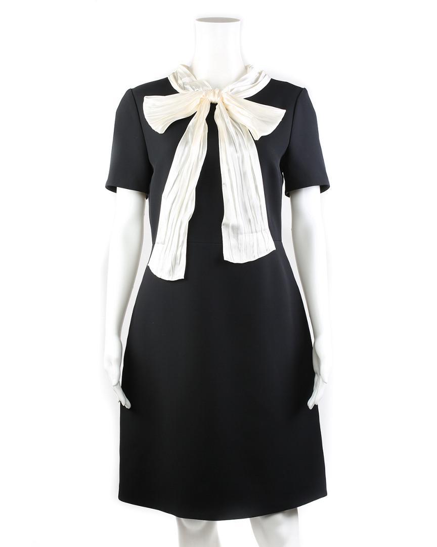 fa31dcdf7b9 Gucci. Women s Black Wool   Silk-blend A-line Dress