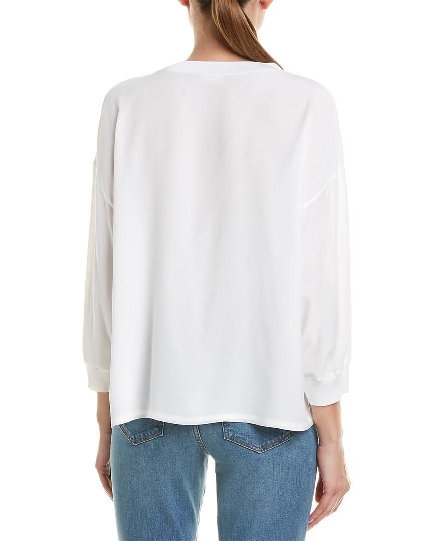 5852cb095dbb8 Lyst - Vince Rib-trim Silk Blouse in White - Save 0.7142857142857082%