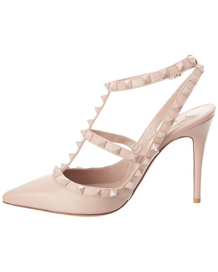 2d338390963 Lyst - Valentino Laquered Rockstud 100 Leather Ankle Strap Pump in Natural  - Save 0.11363636363635976%