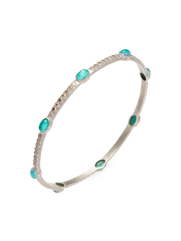 Armenta Diamond & Malachite/Topaz Doublet Eternity Bangle Bracelet pVayp