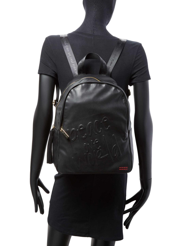 Peace Love World Black Imprinted Backpack Lyst View Fullscreen