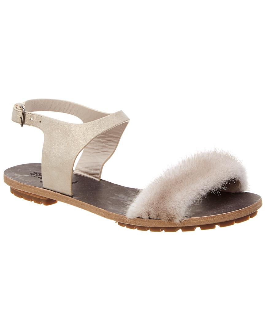 081d2ab0562 Lyst - Brunello Cucinelli Trimmed Leather Sandal in Gray - Save 56%