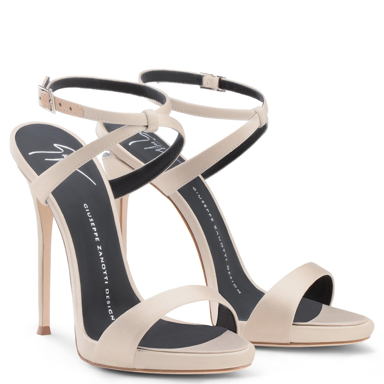 Giuseppe Zanotti Champagne satin sandal with crystals and 'sculpted' heel DIONNE 12 WoJJI