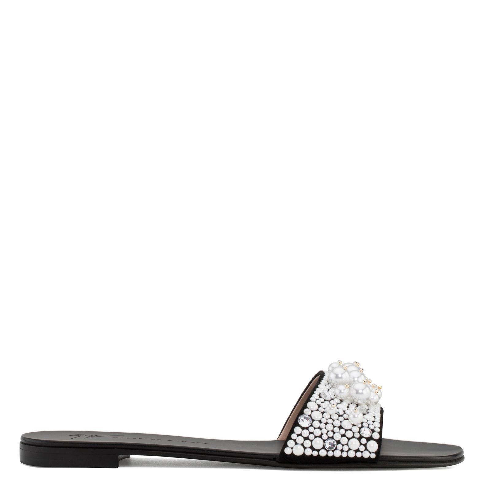 Vanessa Embellished Leather Slides - Black Giuseppe Zanotti R8DulcEw