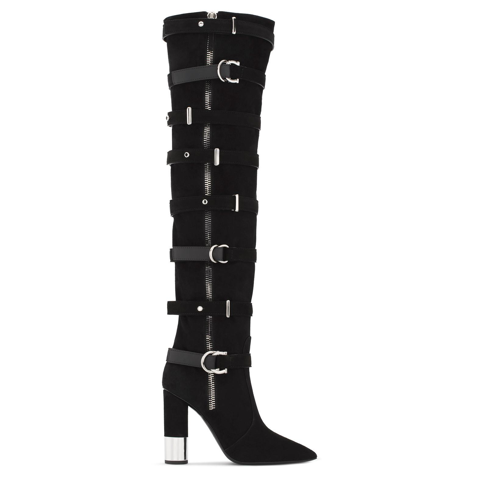 Giuseppe ZanottiSuede cuissard boot with buckles CONSTANCE PIuzE83qA