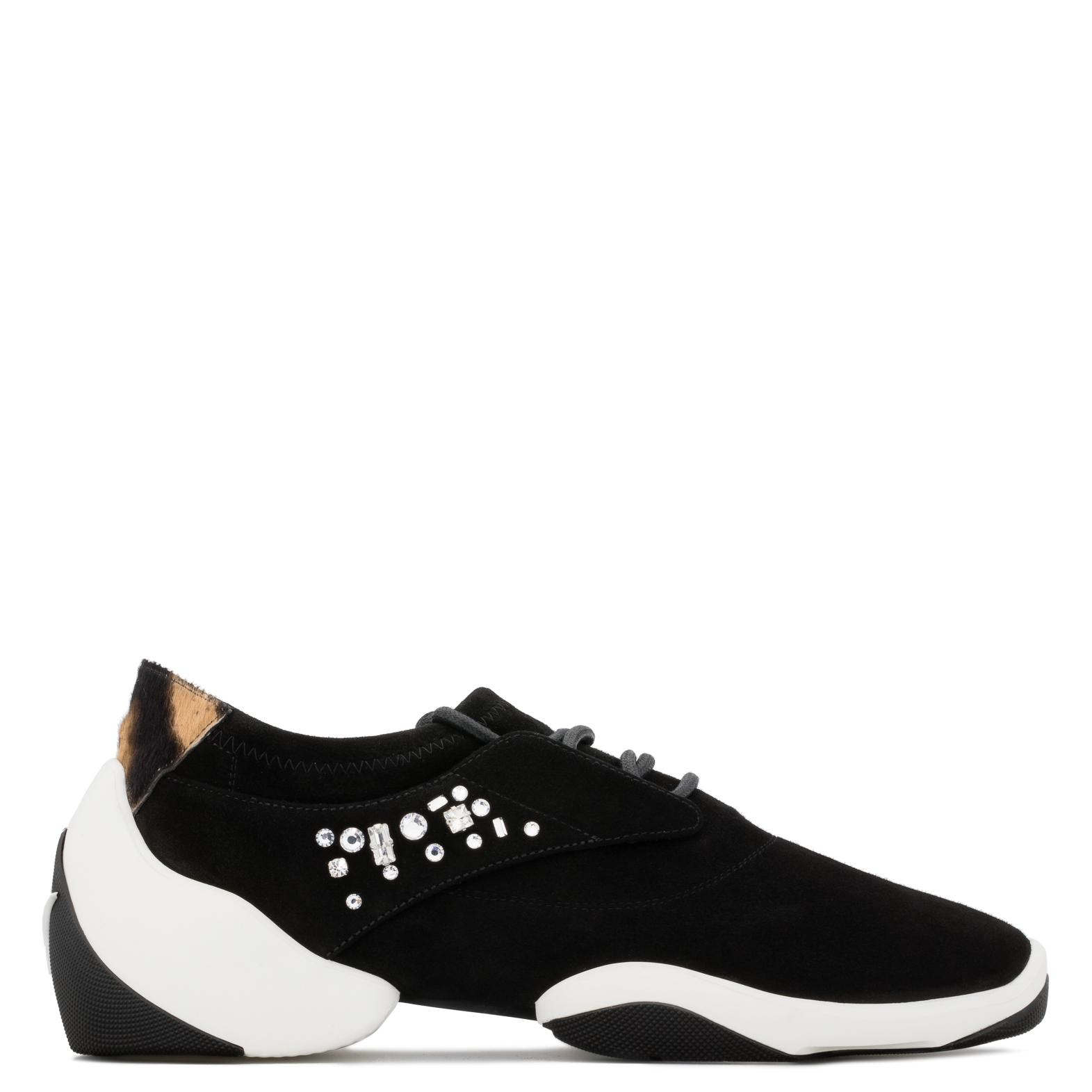 Giuseppe Zanotti Stretch suede low-top sneaker with crystals LACED JUMP uPlkD