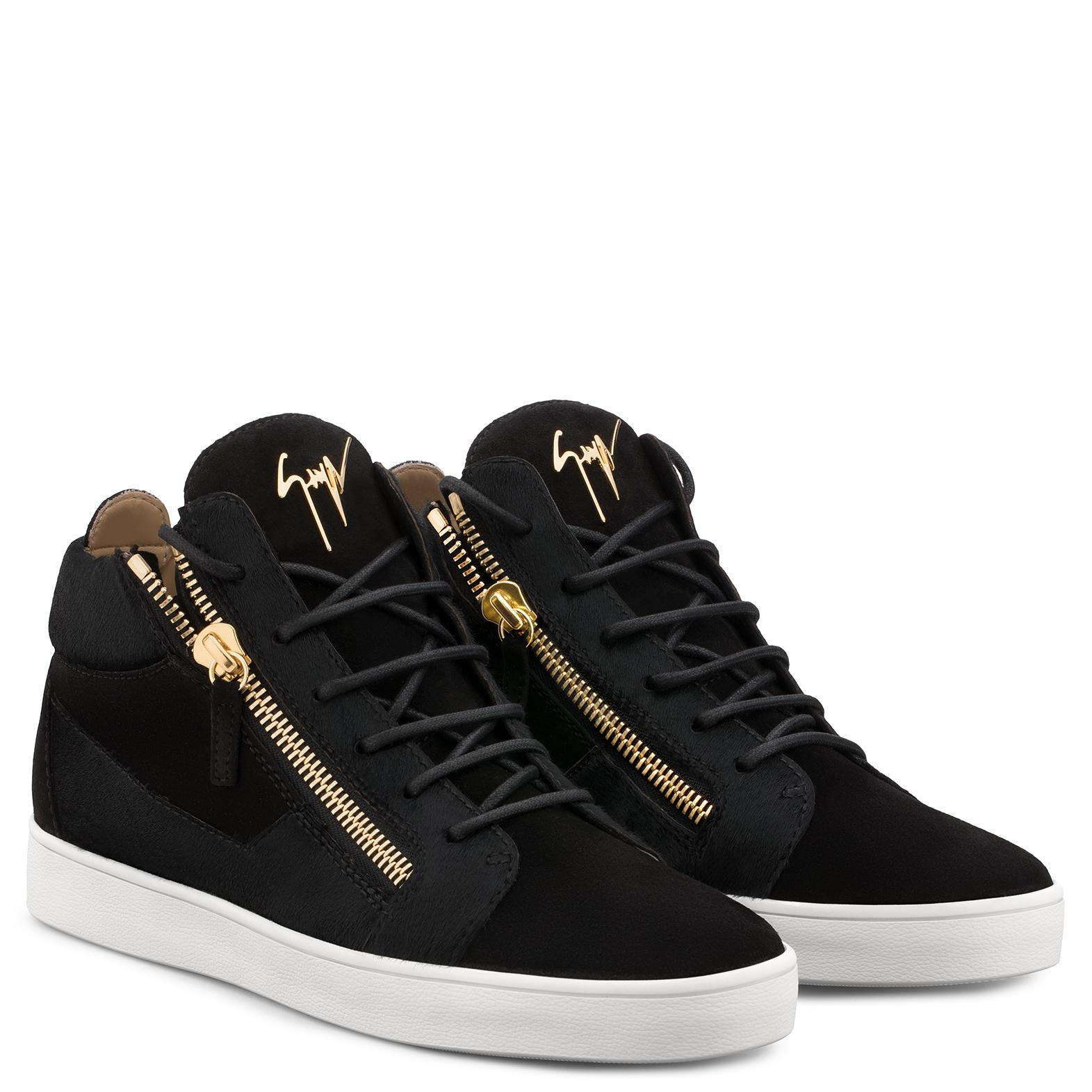 Giuseppe Zanotti Suede sneaker with pony hair inserts DILAN AFnjL