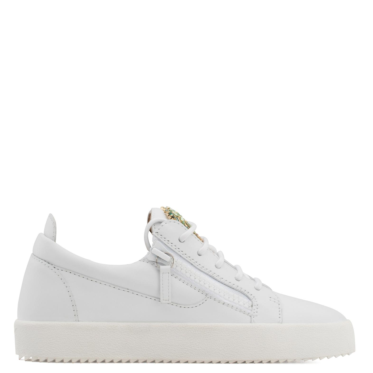 Giuseppe Zanotti Calfskin leather low-top sneaker with crystals palm VENICE BEACH JhouhV8