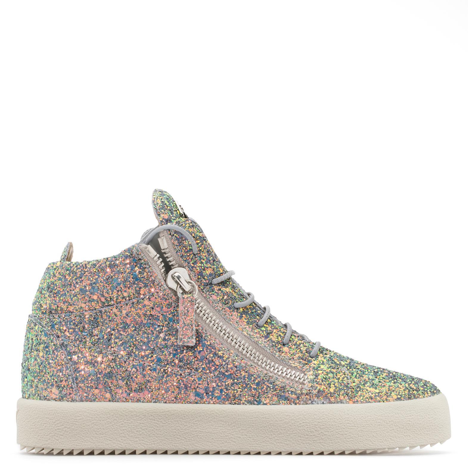 Giuseppe Zanotti Fabric mid-top sneaker with glitter finishing KRISS GLITTER RSUcbN