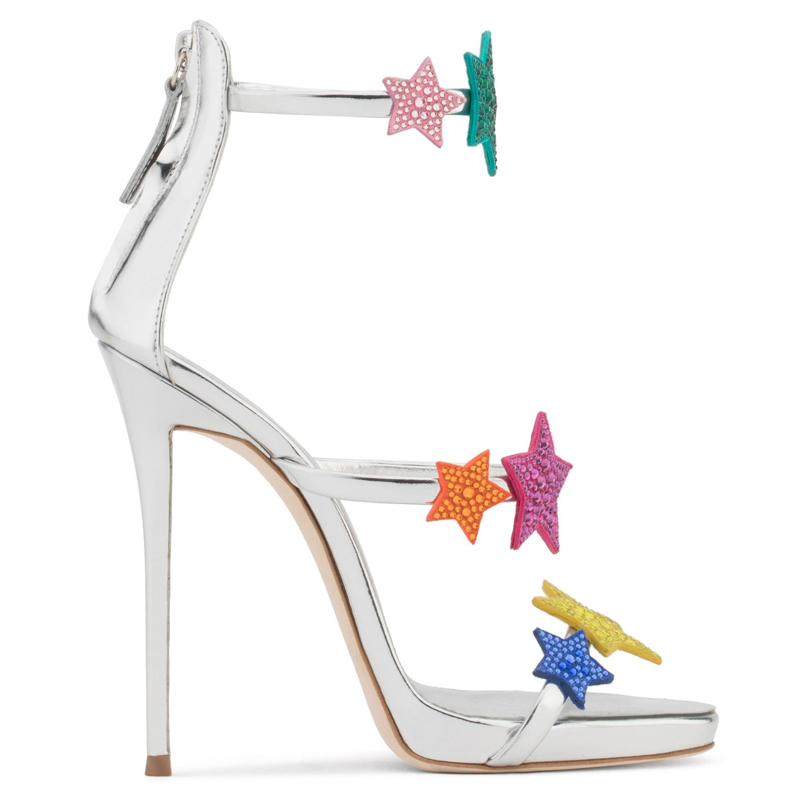 Giuseppe Zanotti Silver patent leather sandal with multicolour stars HARMONY STAR epwwGP