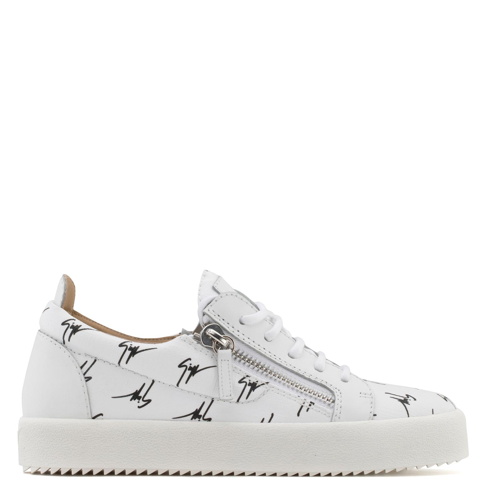 Giuseppe Zanotti Fabric mid-top sneaker with white logo motif THE SIGNATURE 8qyDii