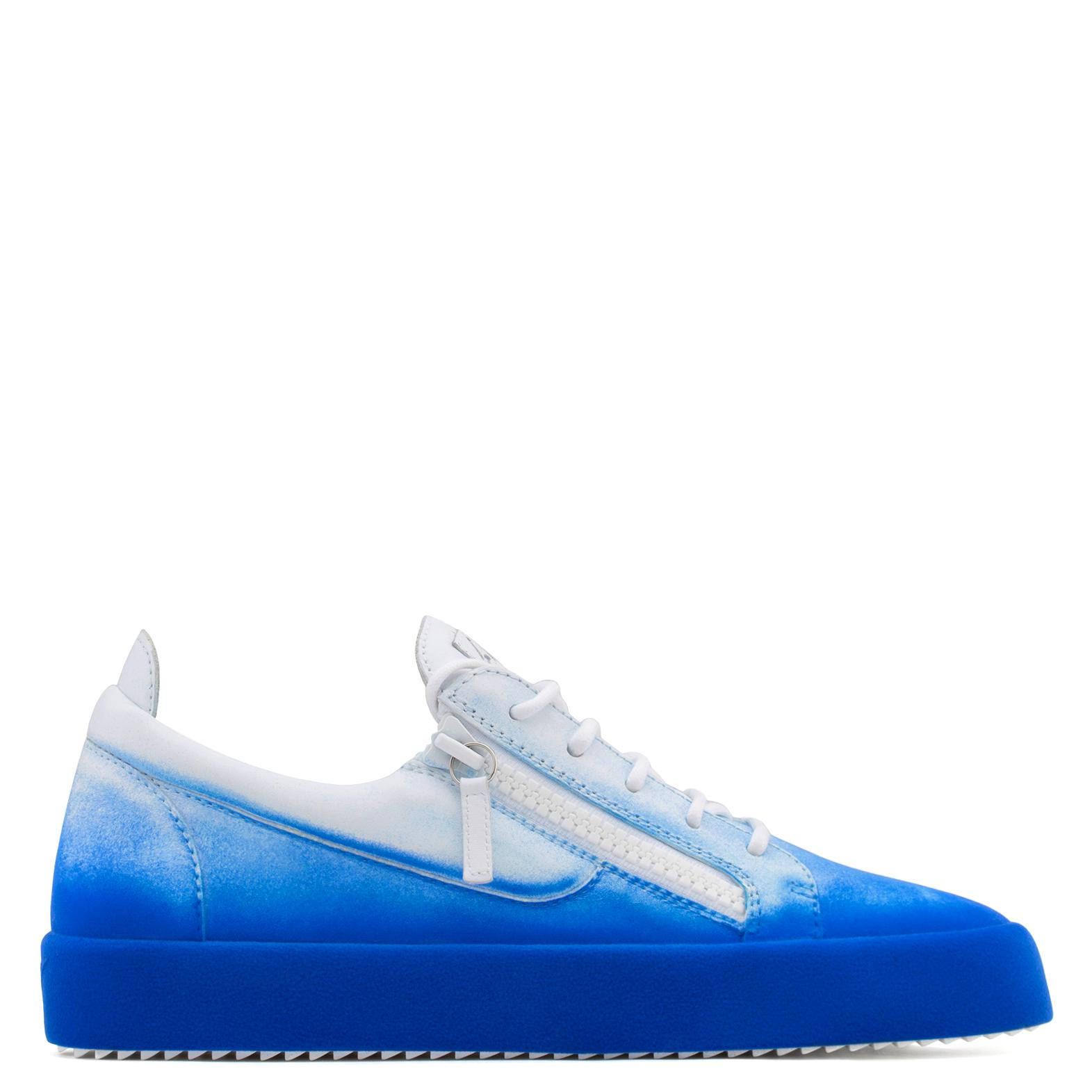 Giuseppe ZanottiWhite calfskin leather low-top sneaker with blue flocking patina NEW UNFINISHED AK6Akmr