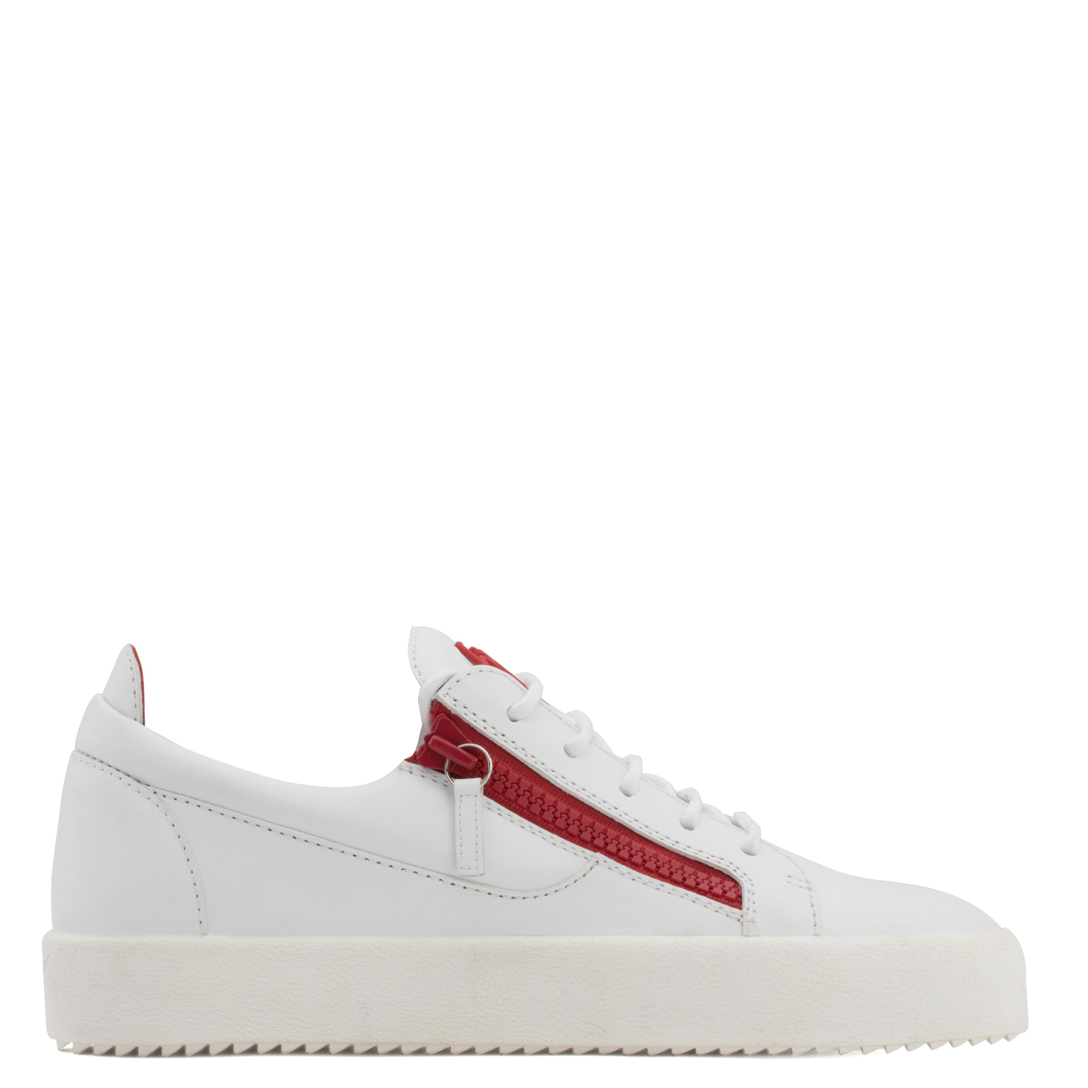 Giuseppe Zanotti Calfskin leather low-top sneaker with red zips FRANKIE jv4Me5e