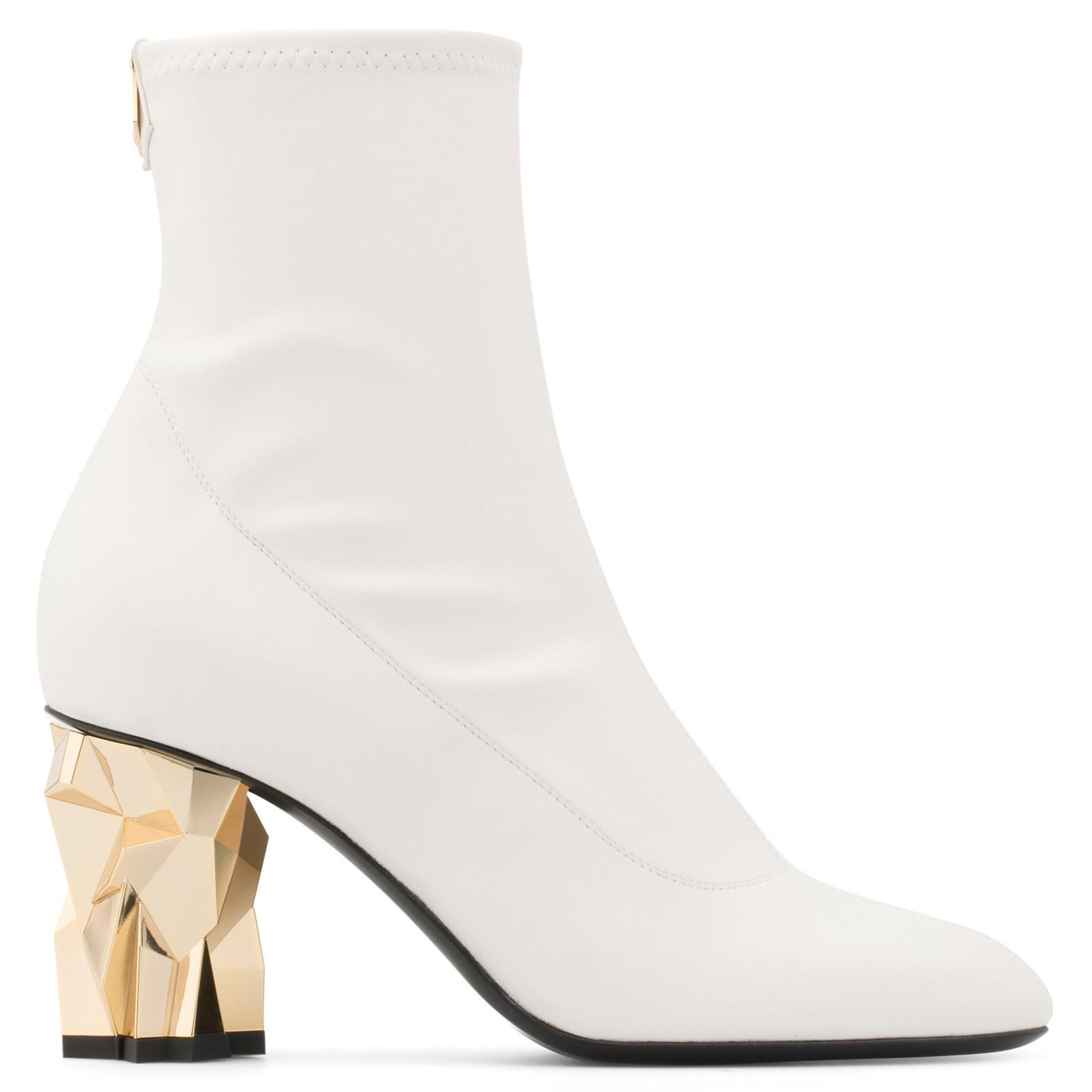 Giuseppe Zanotti Stretch leather boot with 'sculpted' heel GHIACCIO