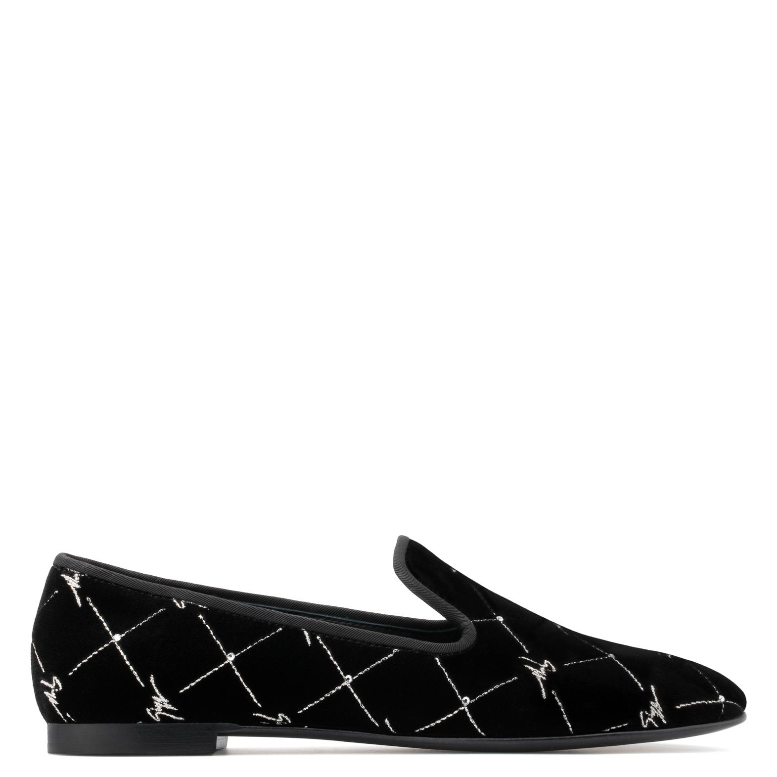 Giuseppe Zanotti Velvet slip-on loafer with 'Logo' motif REGAL G