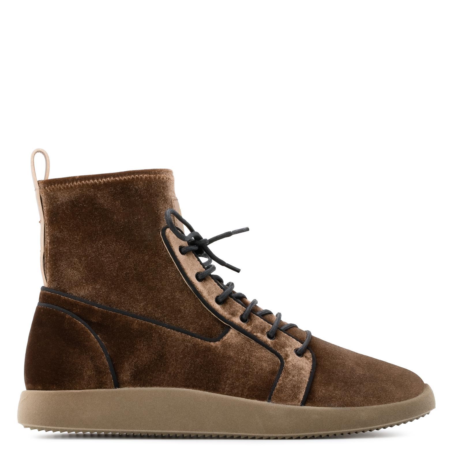 Giuseppe Zanotti Brown velvet stretch high-top sneakers CESAR w8UIIB