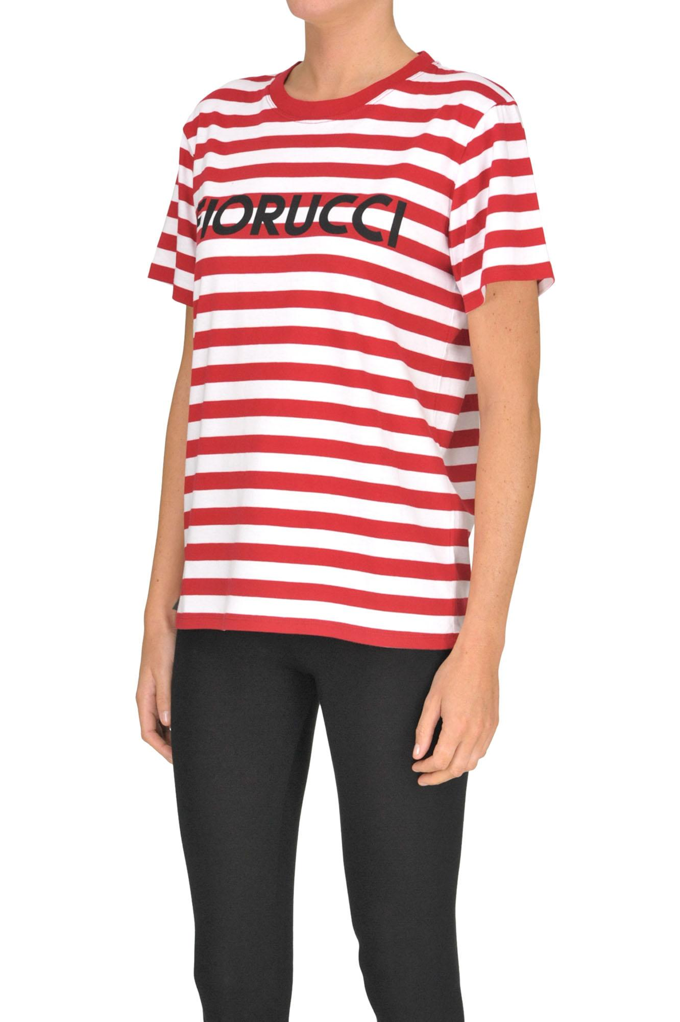 74431e87318 Fiorucci - Red Designer Logo Striped T-shirt - Lyst. View fullscreen