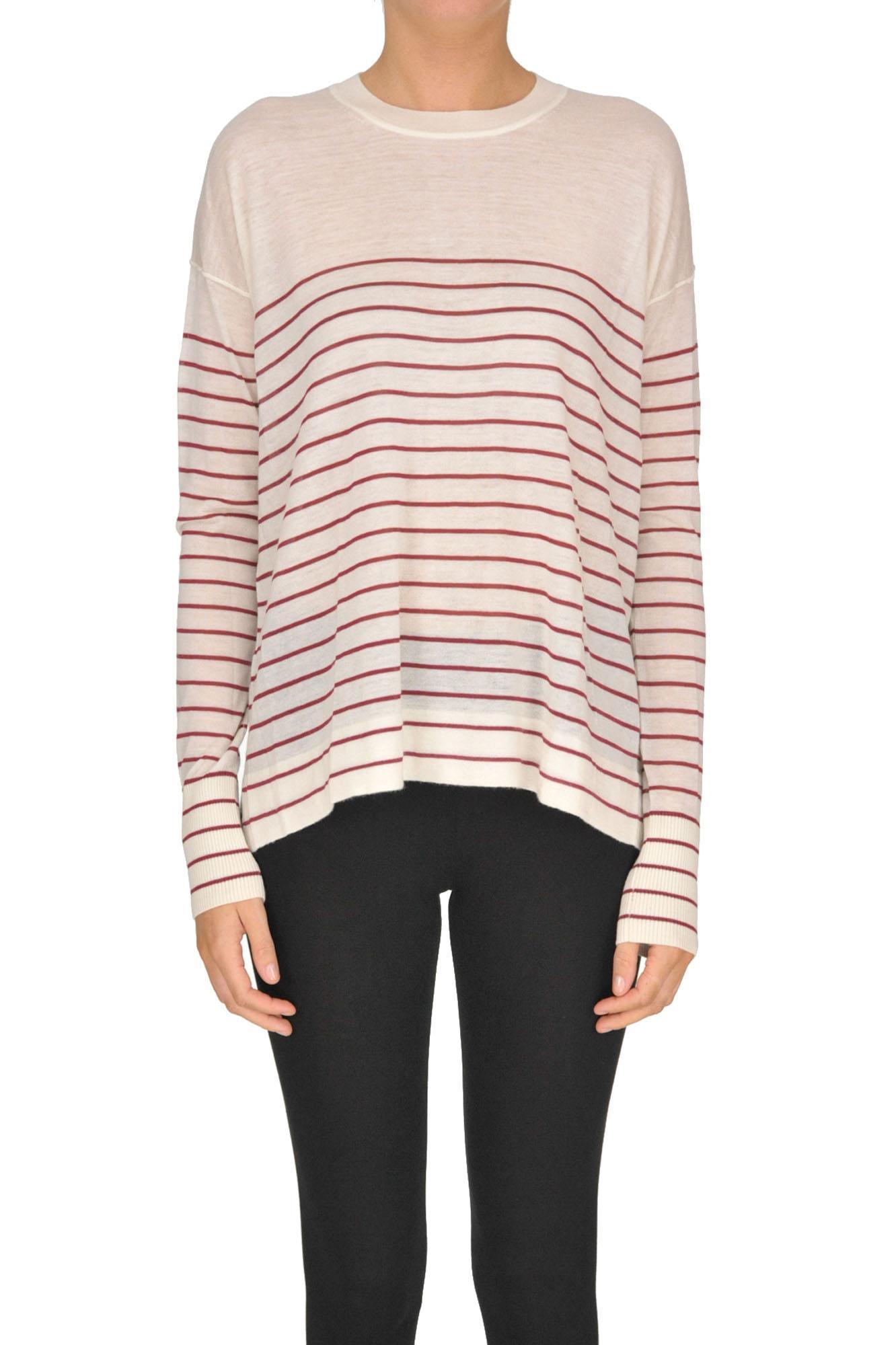 In Striped Red Forte Cashmere Pullover Lyst iuTOPZkX