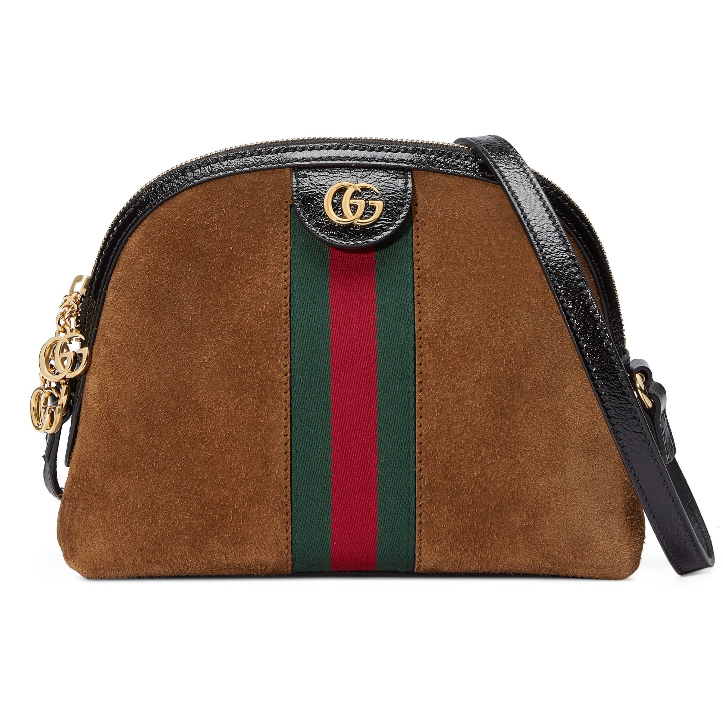 1161871a78e Gucci Linea Dragoni Suede Small Chain Shoulder Bag in Brown - Save ...
