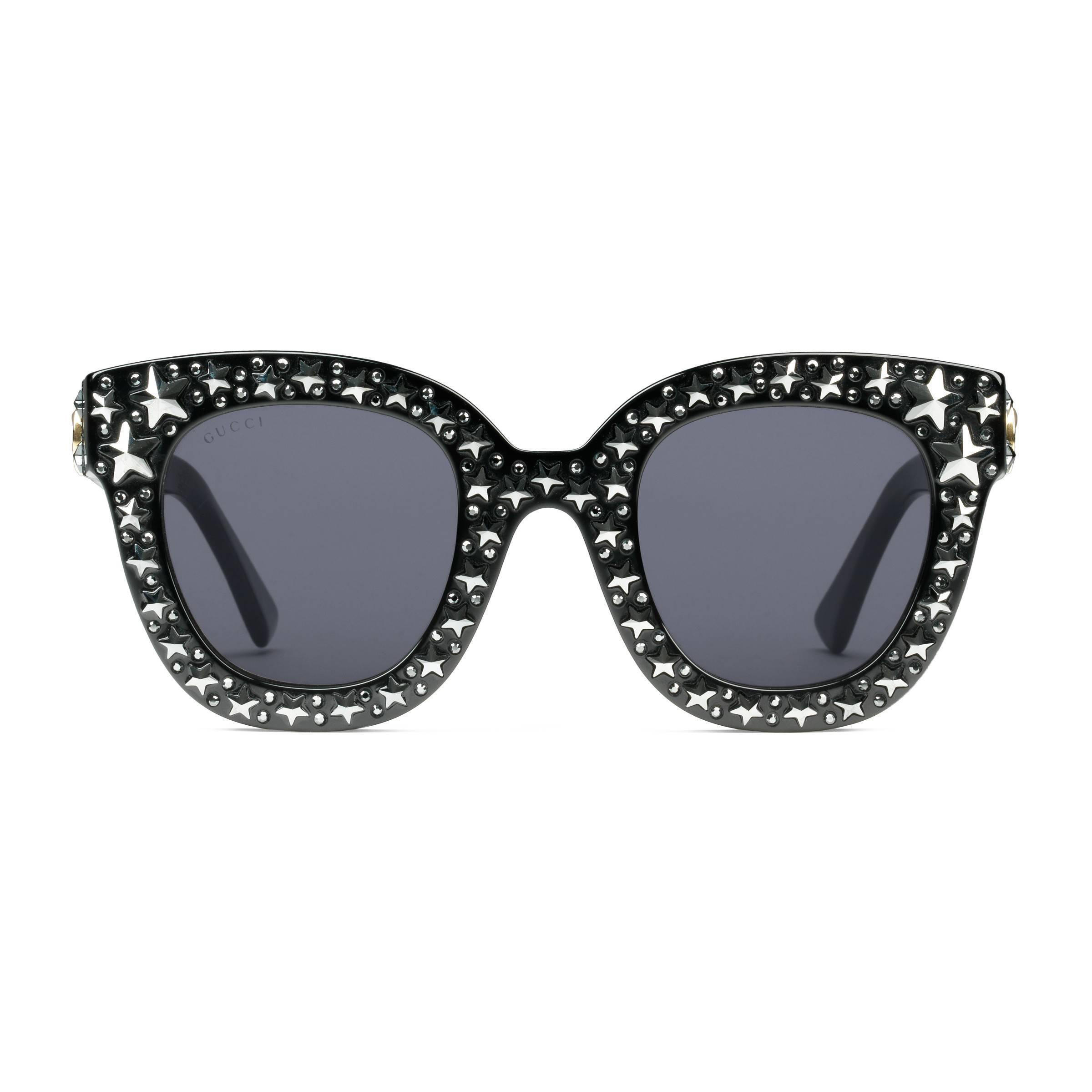 99bcc20244abc Gucci - Black Lunettes de soleil œil-de-chat en acétate avec étoiles -.  Afficher en plein écran