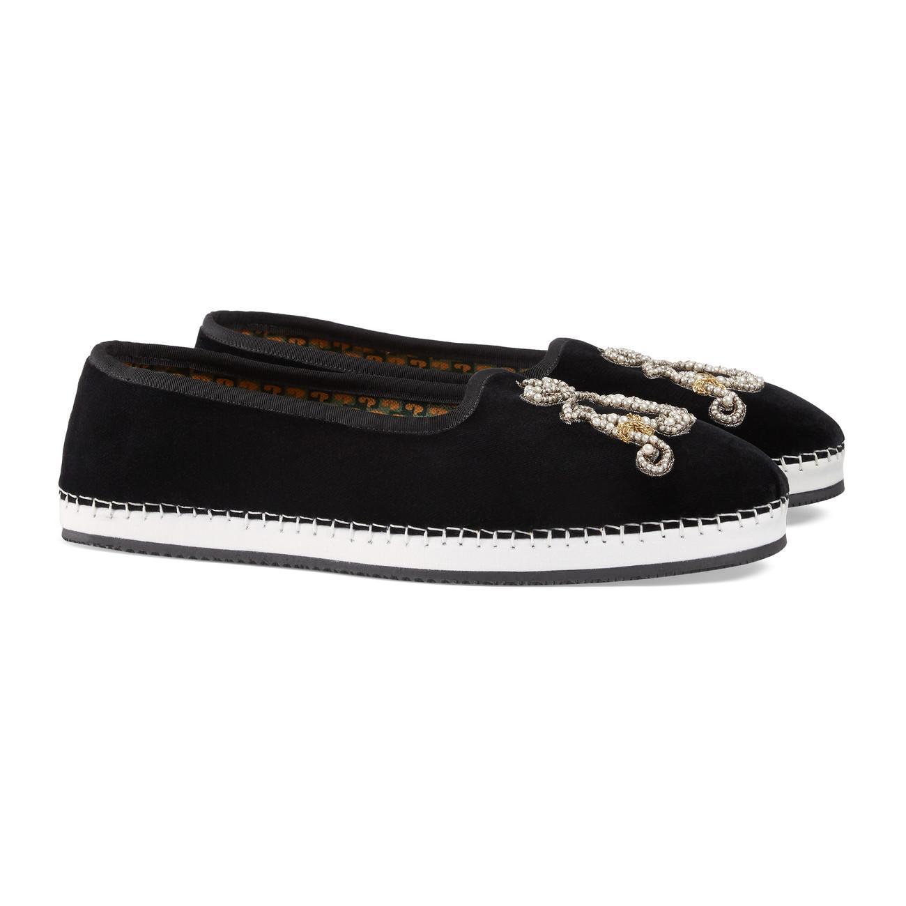 5489066c8 Gucci - Black Men's Velvet Loafer With Am Appliqué for Men - Lyst. View  fullscreen