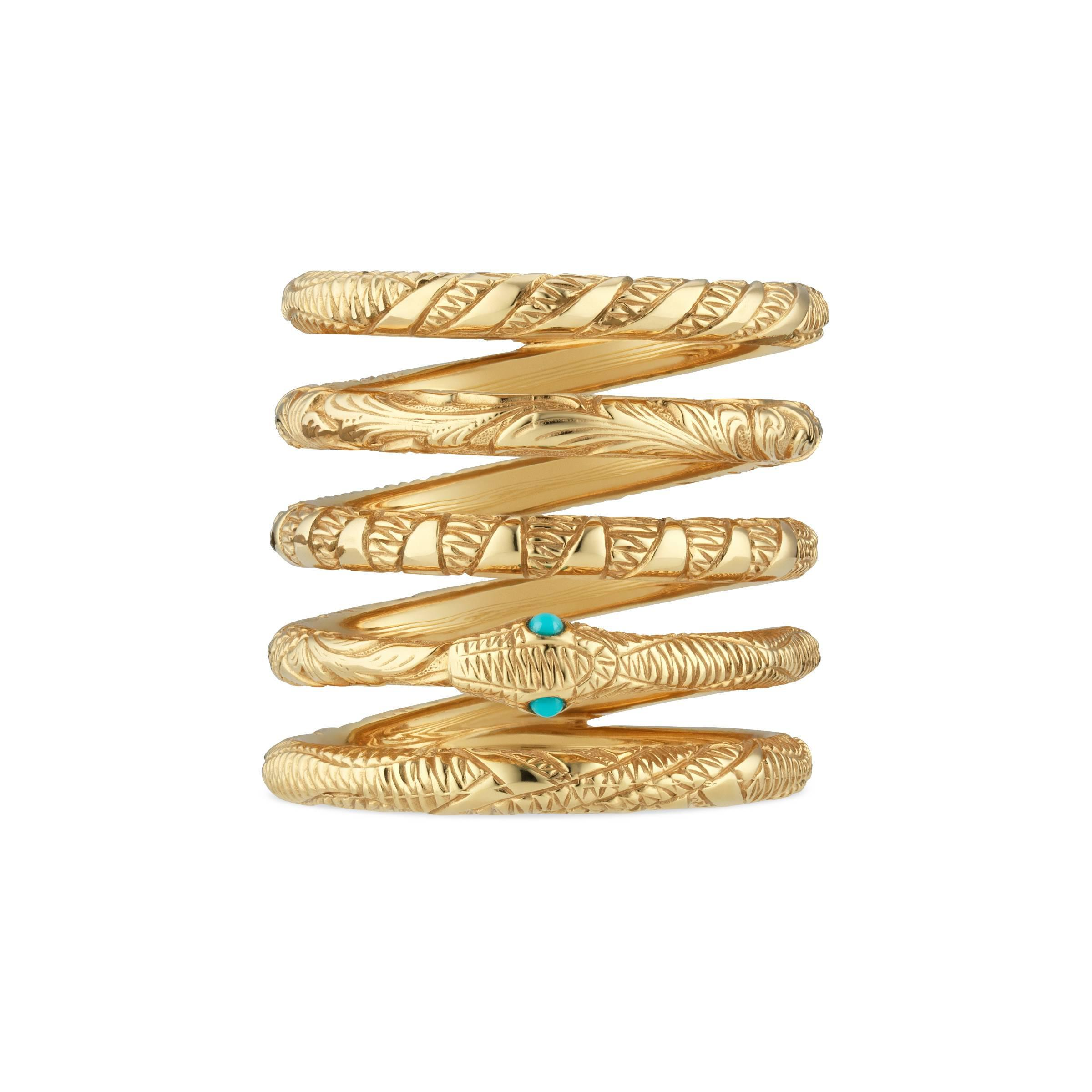 275d62c1e Gucci Five Band Ouroboros Ring In Yellow Gold in Metallic - Lyst