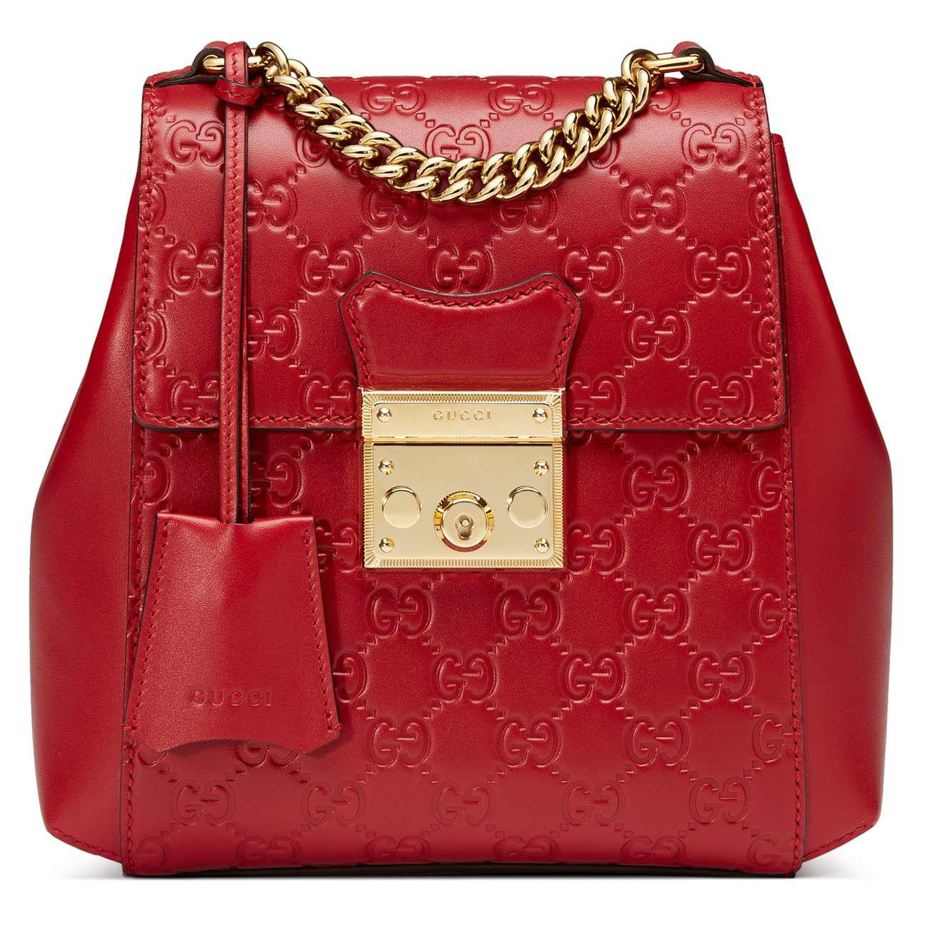 e9783d5bef8 Lyst - Gucci Gg Supreme Leather Padlock Backpack in Red