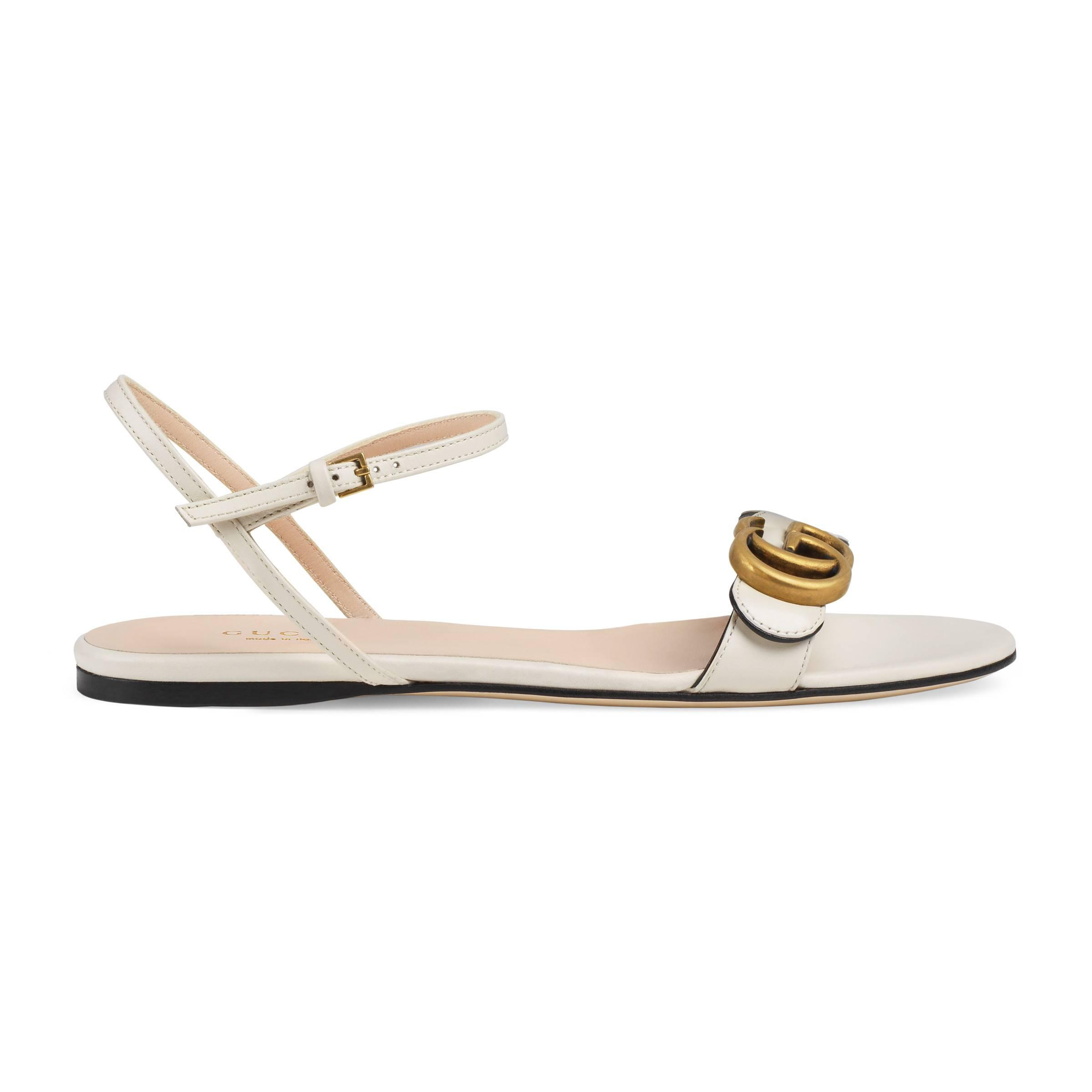 4387f3c5294334 Gucci Leather Sandal With Double G in White - Lyst