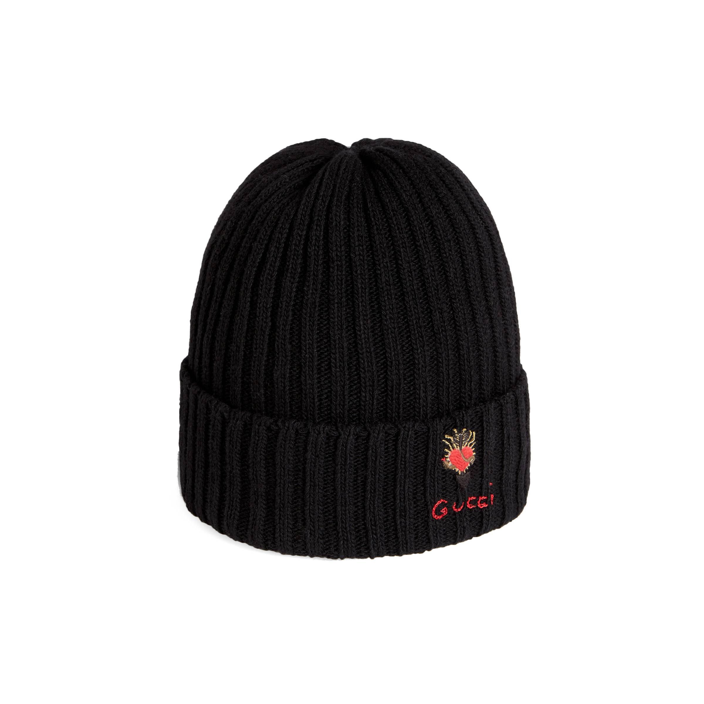 f366a443ff5 Gucci Wool Hat With Pierced Heart in Black - Lyst