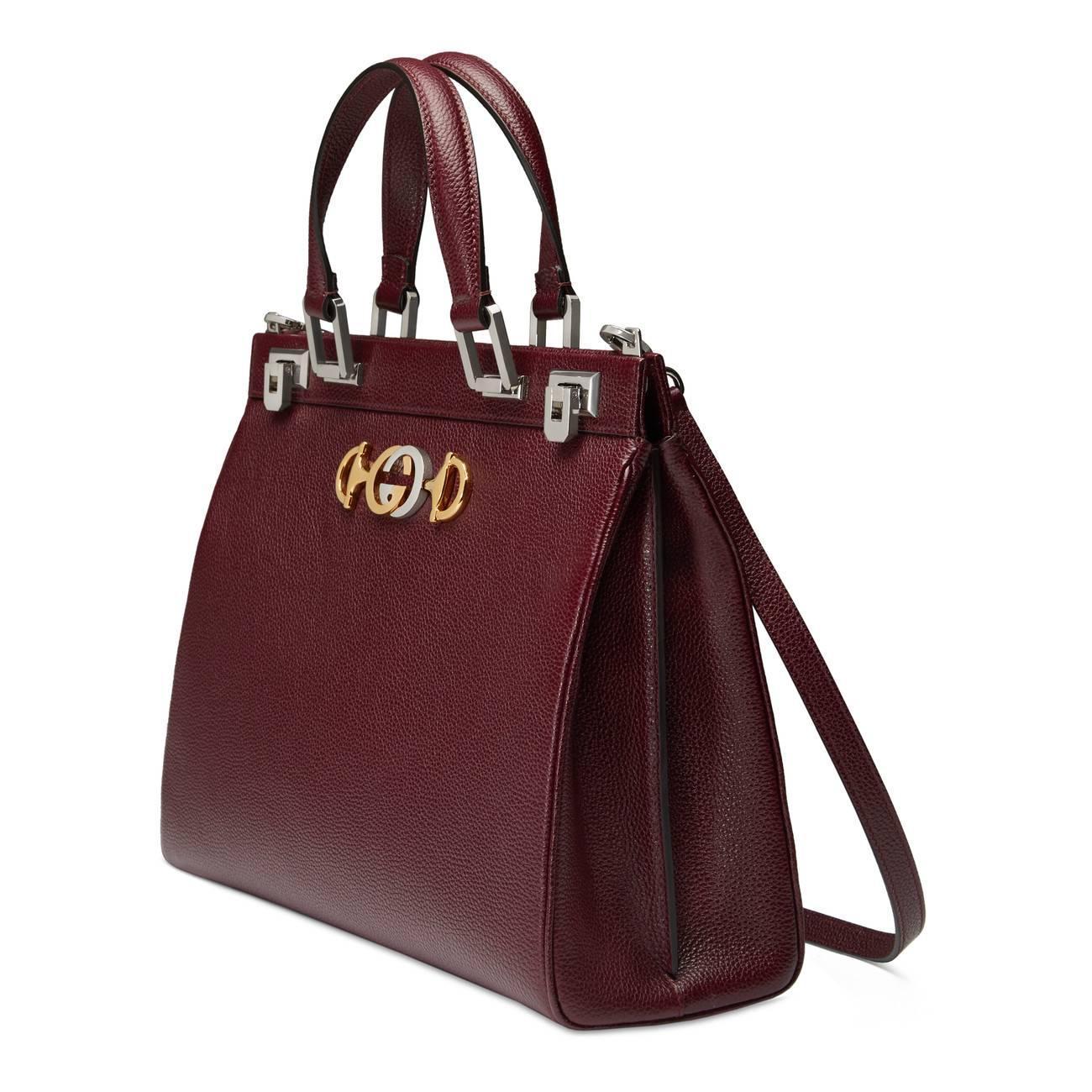518a3b10cce Lyst - Gucci Zumi Grainy Leather Medium Top Handle Bag